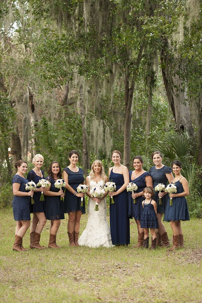 mismatched navy bridesmaids | Stephanie A Smith Photography | Glamour & Grace