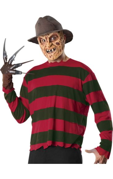 Scary costume for Halloween. Freddy Krueger Set | Jokers Masquerade. Freddy Krueger first appeared in the 1984 film 'A Nightmare on Elm Street'. With his burned face and disheveled appearance it is no surprise that a Freddy Elm Street costume makes a unique Halloween outfit idea. With this one kit you can obtain his complete signature look.