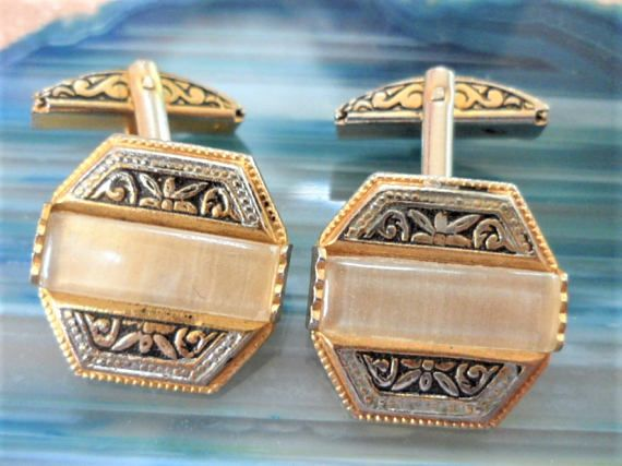Cuff Links Set Damascene-Style Toledo Mother of Pearl Effect