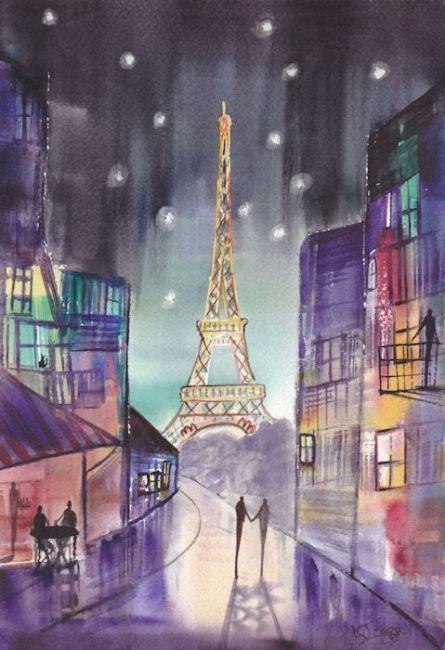 Arte: Starry Night ~ Paris Romance pelo artista KJ Carr