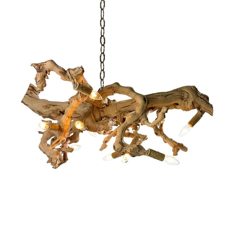 For beach living or city living, this driftwood chandelier isone of our new favorite light fixtures. It brings the outside in! Made of real driftwood with 9 lights for ample lighting. Dimensions: 25""
