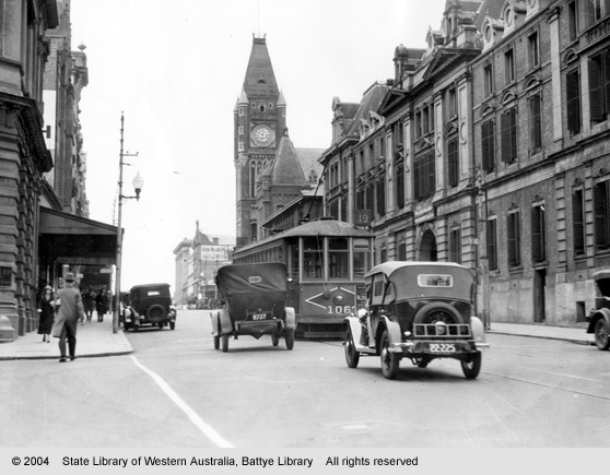 Barrack St, looking north from St George's Tce, Perth, 1933