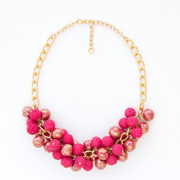Sparkle fashion statemenent modern fully handmade polymer clay necklace by DesignsbyLimeLight on Etsy