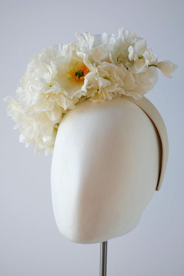 Flower Headband, Floral Headband, Wedding Headband, Bridal Headband, Festival Flower Crown: White / Ivory Silk Poppies and Delphiniums by CleaBroad on Etsy