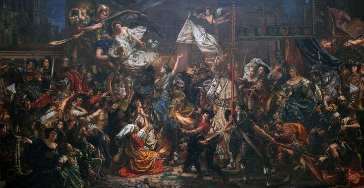 """""""The Maid of Orléans"""" (1886) by Jan Matejko. Entrance of Joan of Arc into Reims in 1429."""