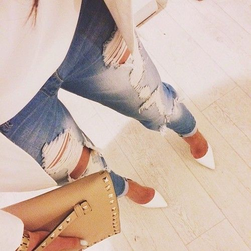 I love pointy heels  especially white ones, with ripped/distressed jeans