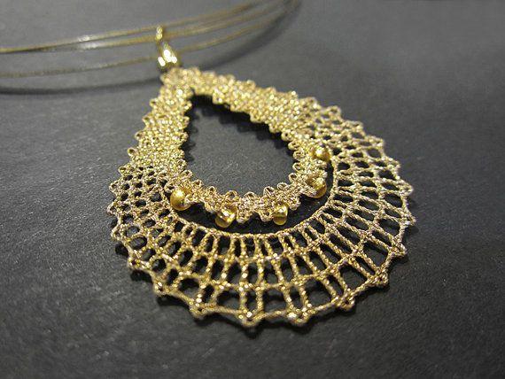 Items similar to Drop || Golden Drop Lace Pendant | Drop Raindrop Teardrop Rain…