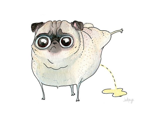 Absurd Peeing Pug Card - Pee Pilates, Funny Pug Dog, Asparagus Pee, Strange Pug Drawing on a Blank Greeting Card by InkPug! on Etsy, $3.95
