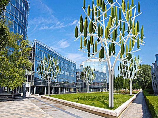 """""""Silent Wind Trees"""" generate energy as innovative urban sculpture and renewable energy technology in one. What a unique design for wind turbines! Pioneered by New Wind R&D in France.   Source: http://inhabitat.com/wind-energy-made-beautiful-with-these-silent-wind-tree-turbines/"""