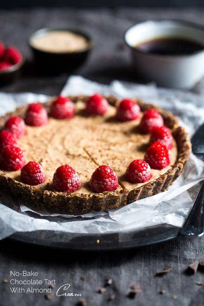 No-Bake Salted Chocolate Tart with Almond Cream – This easy tart is made from al…