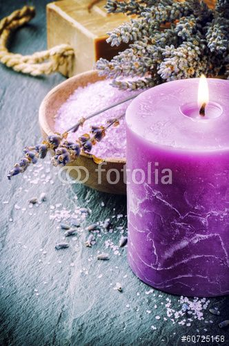 Wellness concept with lavender and scented candle