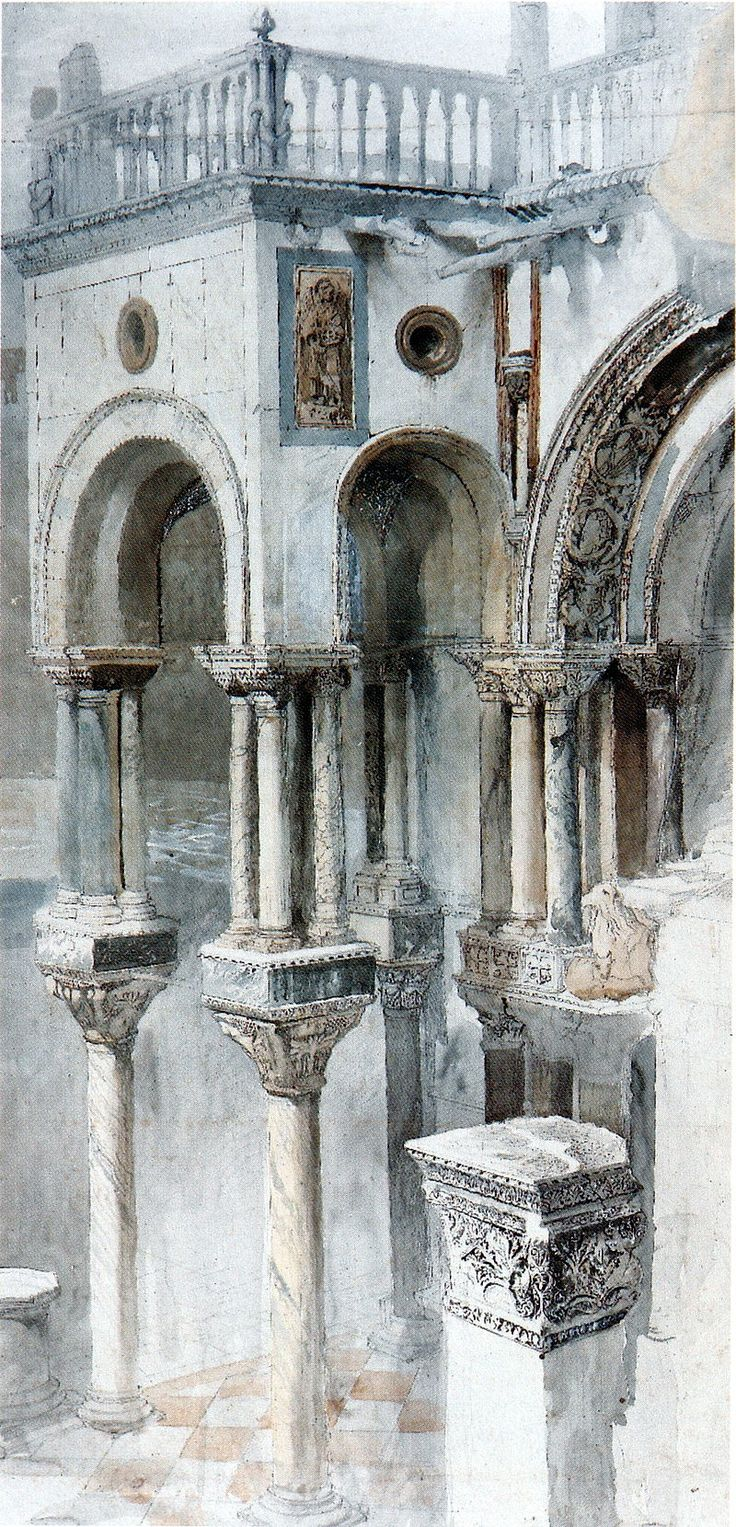 John Ruskin, The South Side of St Mark's from the Loggia of the Ducal Palace, Venice circa 1851 Pencil and watercolour heightened with white, on 3 pieces of paper, 95.9 x 45.4 cm