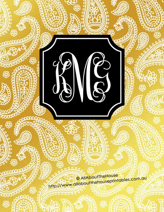 Gold Monogram Binder Cover printable - includes editable cover, spine and back cover - damask, chevron, polka dots, stripes, diamond, ikat, confetti dot, leopard print, cheetah, swirl, herringbone, greek key, aztec, paisley, quatrefoil etc. in metallic gold foil DIY Notebook Stationery Preppy school college editable personalised https://www.etsy.com/au/listing/269066226/gold-monogram-binder-cover-and-black?ref=shop_home_active_1