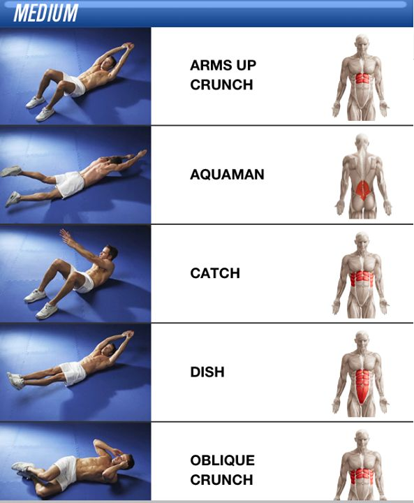 Core exercises: arms up crunch, aquaman (superman), catch, dish, oblique crunch