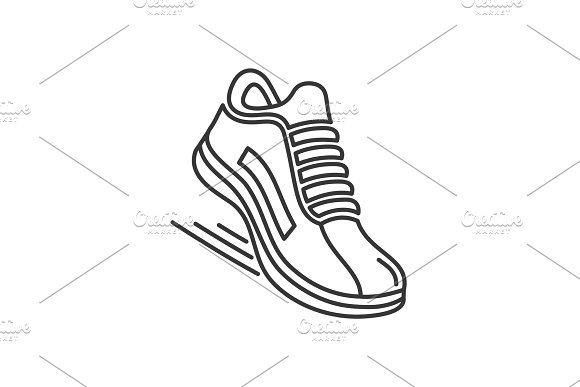 Sports Running Shoes Icons Line Running Sport Shoes Running Shoes Running