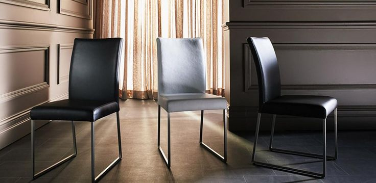 Genuine thick leather dining chairs with brushed stainless steel legs