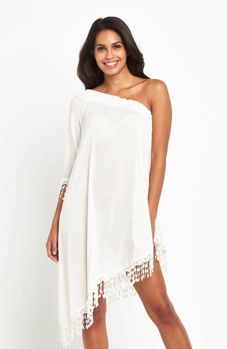 Sukienka z odkrytym ramieniem. Idealna na plażę marki V by Very, 219 zł na http://www.halens.pl/moda-damska-moda-plazowa-5791/sukienka-plazowa-576515?variantId=576515-0020&imageId=398507