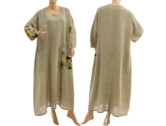Boho linen maxi dress in natural hand painted long beige