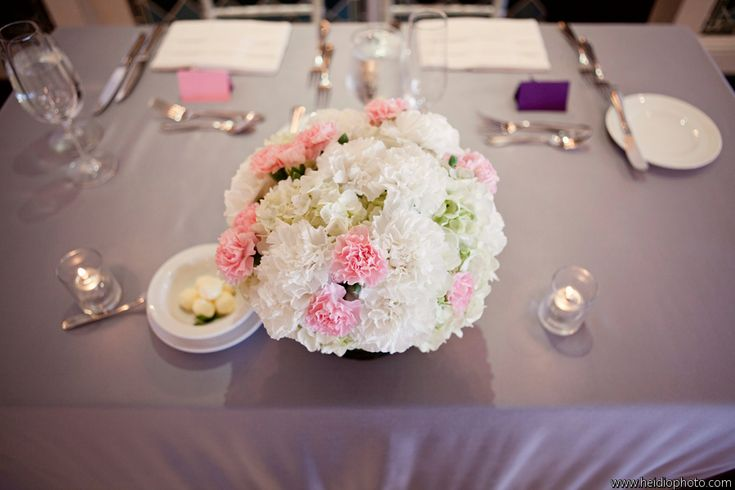 Pink and white hydrangea centerpieces was made with