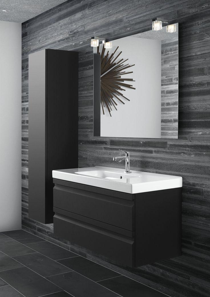 Black rubber vanity unit and white Menuet porcelain basin.