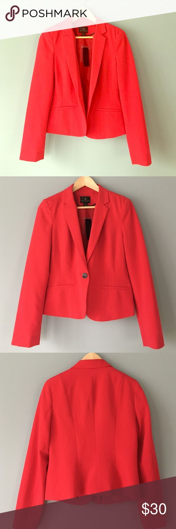 Red Blazer NWT, one button, two pockets, fitted, single breasted Worthington Jackets & Coats Blazers