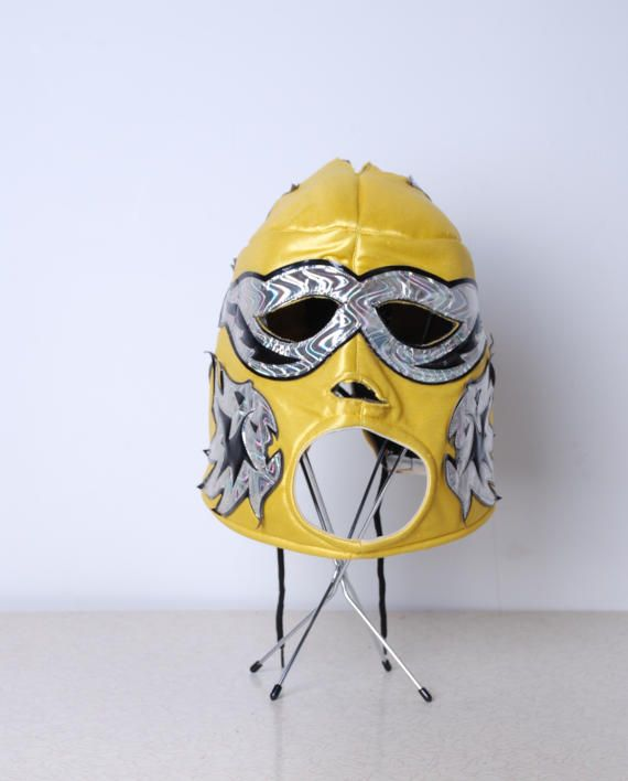 90s Luchadores yellow and silver Mexican Pro wrestling costume full face mask fits most small medium large womens mens unisex vintage