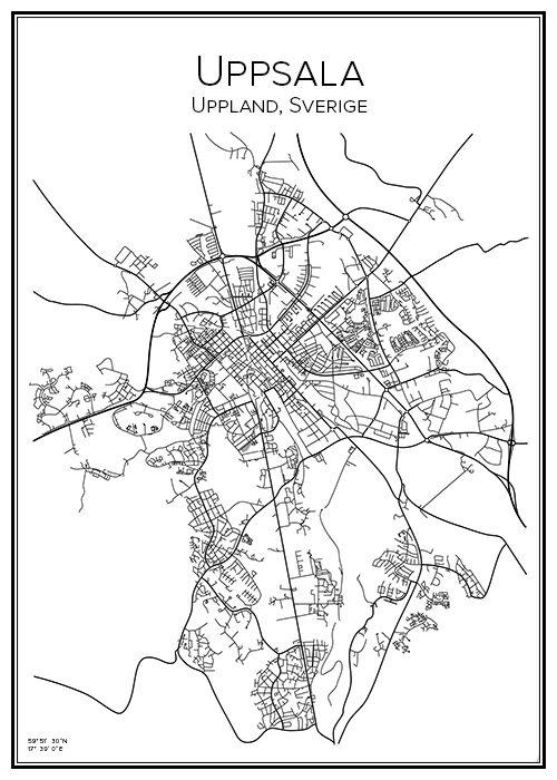 Handritad affisch över staden Uppsala i Uppland. Här kan du beställa stadskarta över din stad och andra svenska samt utländska städer.