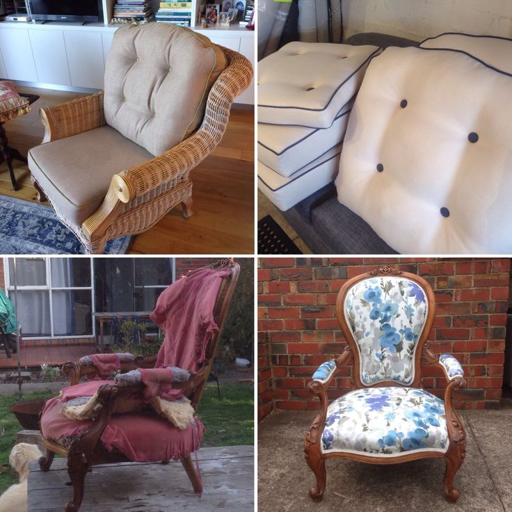 Two before and afters. Upholstery and soft furnishings.