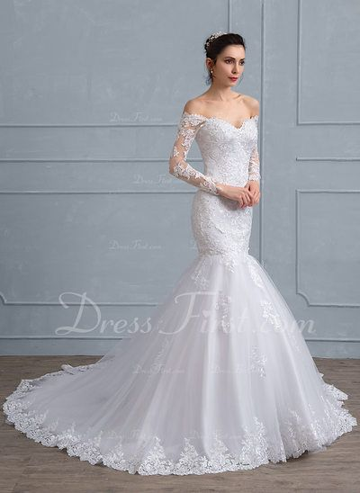 79c1124505f Trumpet Mermaid Off-the-Shoulder Chapel Train Tulle Lace Wedding Dress With  Beading Sequins (002111938) - DressFirst