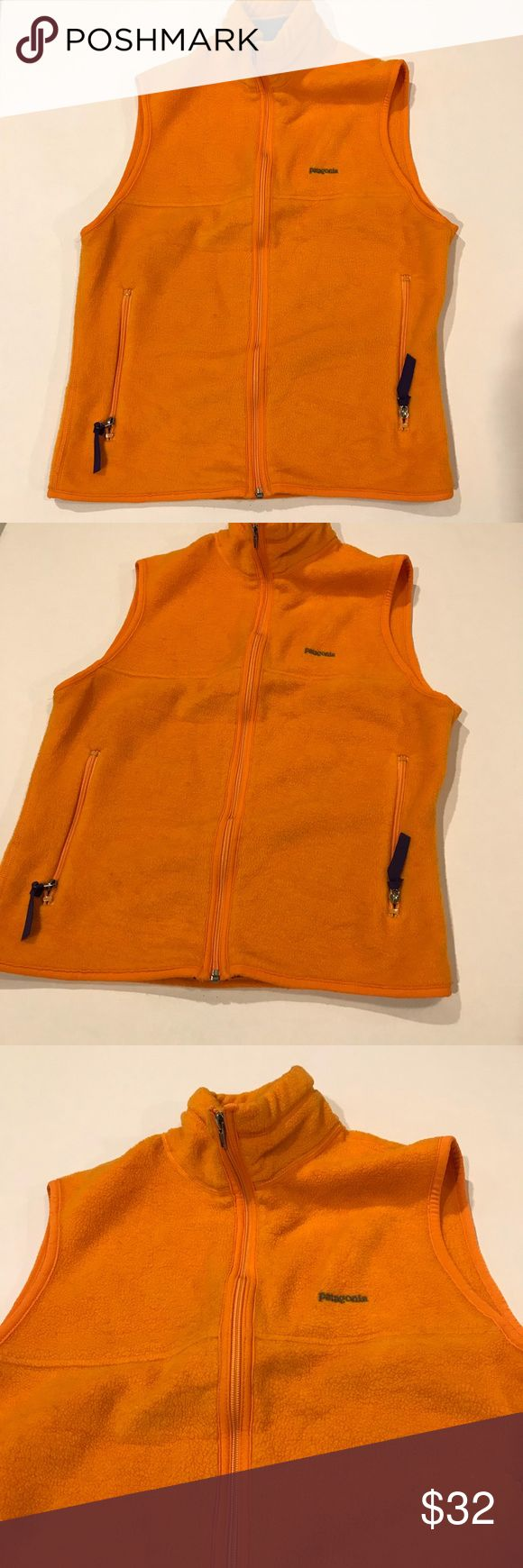 "Patagonia orange zip up vest sz small Pit to pit:19"" Length:23.5"" Waist:34"" Patagonia Jackets & Coats Vests"