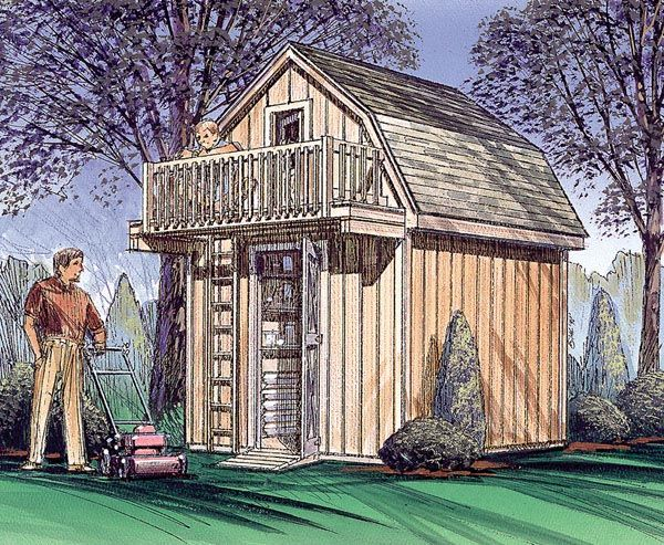 Shed with upstairs play house.  We could put the shed entrance on the side and extend a pole for a swing set.