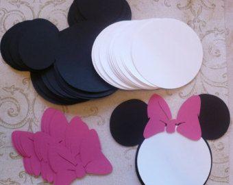 25 pièces noir Minnie Mouse tête formes blanc cercle formes Hot rose arcs - Die Cut pour DIY Birthday Party Invitations