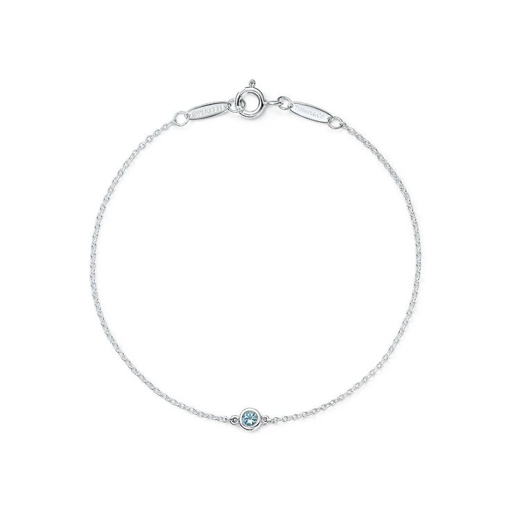 Elsa Peretti® Color by the Yard bracelet in sterling silver with an aquamarine. | Tiffany & Co.