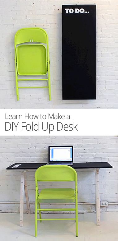 Make a collapsible desk that can easily folds up and hangs on a wall.