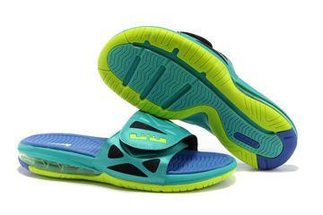 Rotro 10 Nike King James Slippers Jade Blue and Yellow for Mens