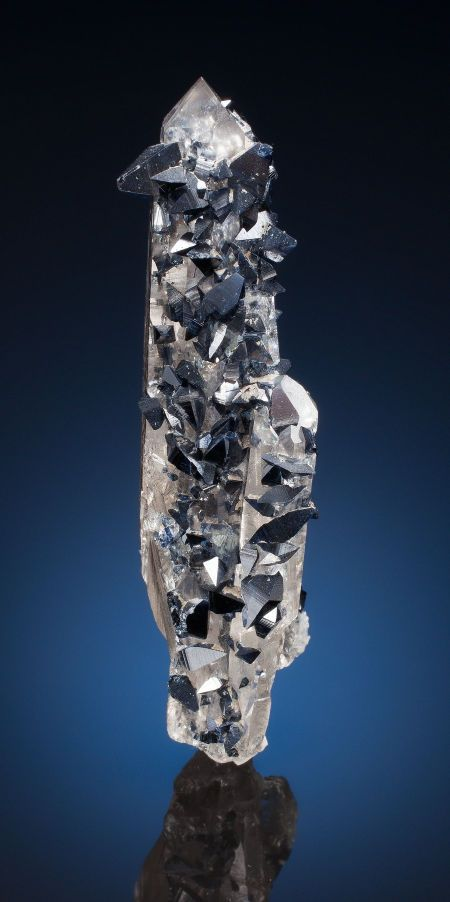 Blue-black bipyramids of Anatase on water clear Quartz - Norway / Mineral Friends