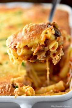 Vegetarian Baked Ziti Recipe with mushrooms and onions from shewearsmanyhats.com