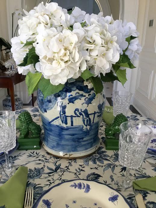 hydrangeas, green, blue & white table setting.