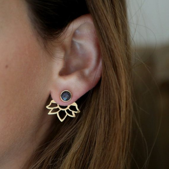 Ear jackets brown sapphire, sapphire earrings, gold earrings, gemstone,earrings