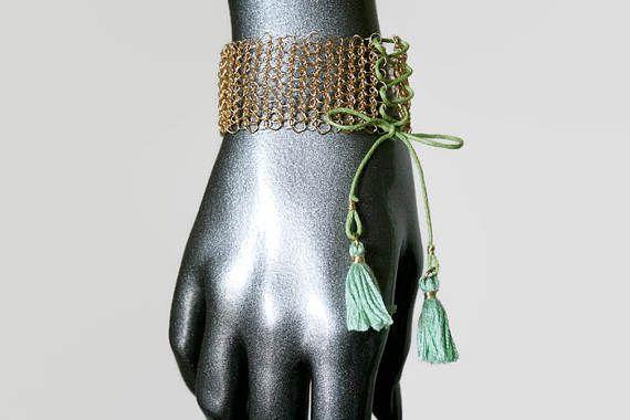 Quaste bohoarmband Silber gold blau grün verstellbare