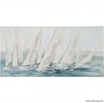 J-Line Schilderij Zeilboten Canvas-Hout Wit-Blauw 140X70 Jline-by-Jolipa-70118