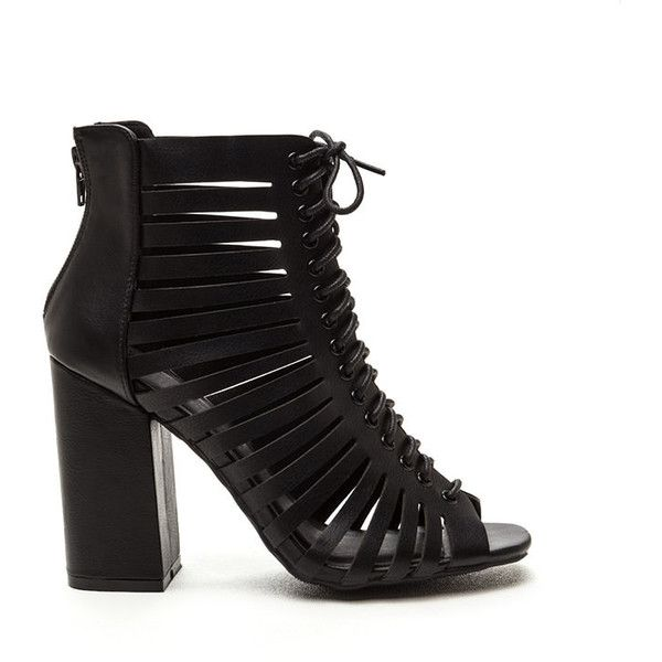 BLACK Just In Vented Chunky Lace-Up Booties ($23) ❤ liked on Polyvore featuring shoes, boots, ankle booties, ankle boots, black, faux leather booties, short black boots, cut out booties, cutout booties and open toe booties