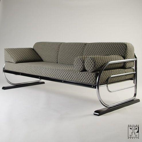 tubular steel couch daybed in aeronautic streamline design by zeitlos berlin m bel sofa