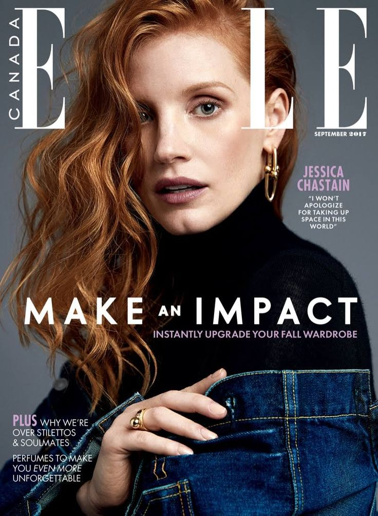 Actress Jessica Chastain Stuns In Denim Looks For ELLE Canada