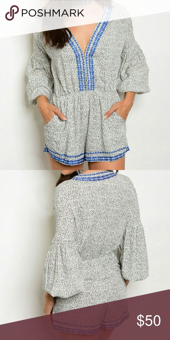 SALE TODAY--Embroidered Detail Confetti Romper Colors: Black, white & blue  2 pockets   This boutique personally steams all of its inventory! Boutique Pants Jumpsuits & Rompers
