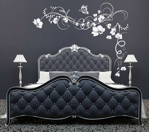 Large Flowers Butterfly vine wall sticker decal graphic living room home interior design feature wall. £20.99, via Etsy.