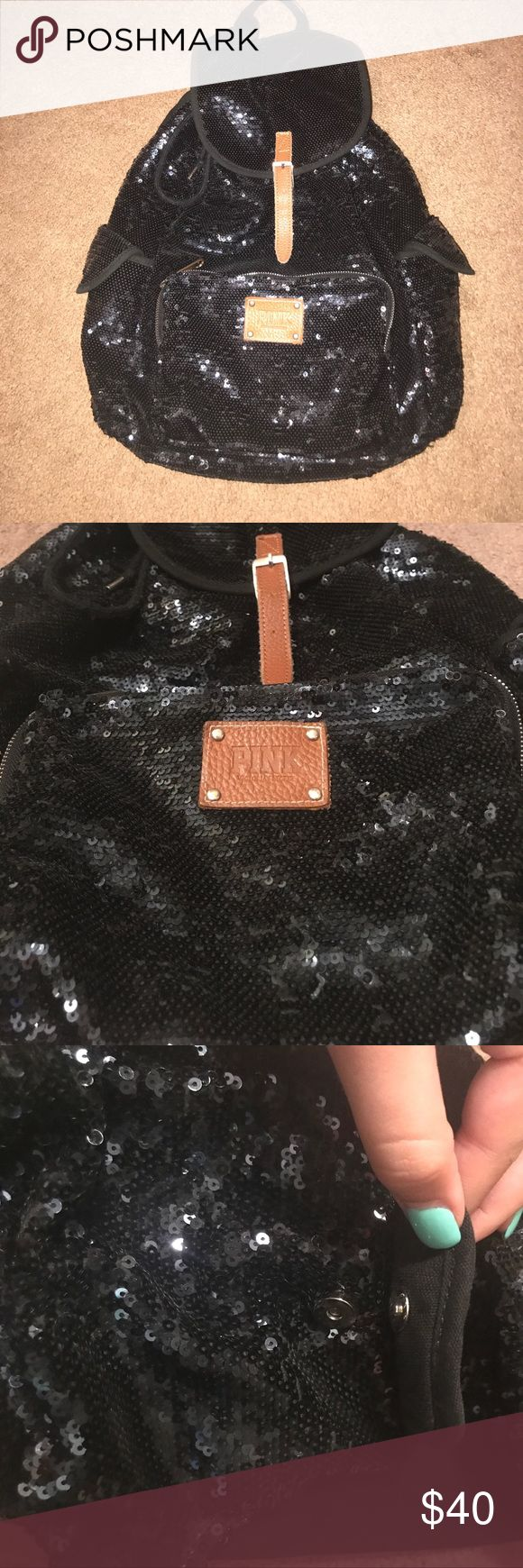 Victoria's Secret Pink black sequined backpack EUC black sequined with leather colored accessory backpack from vs pink. Has snap close side pockets and from zip pouch. Backpack lid closes with a true belt latch. Only minor wear on Handle and bottom of bag shown in excellent condition PINK Victoria's Secret Bags Backpacks