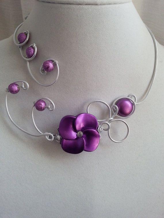 Statement necklace Wedding jewelry  Alu wire by LesBijouxLibellule