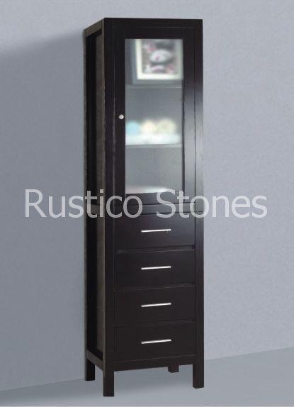 Badkamermeubel 45*35*160 cm, MDF board, warme donker notenbruin kleur staat in de winkel