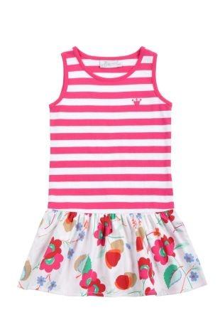 Vestido para niña con cuello redondo y sin mangas. La parte superior a rayas en fucsia y blanco, y la falda en tela con estampado de flores.